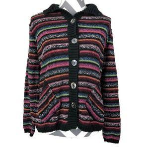Black Multi Color Striped Button Down Cardigan